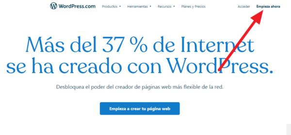 Cómo crear una cuenta de wordpress