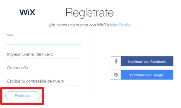 Cómo registrarse en wix