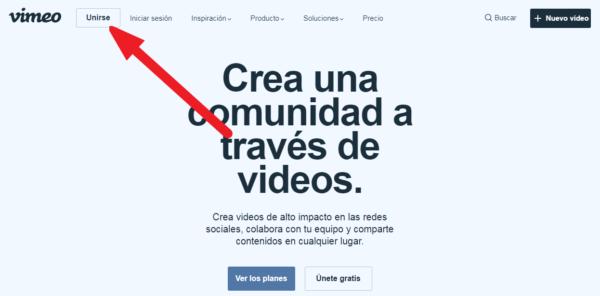 Como crear una cuenta en vimeo 1