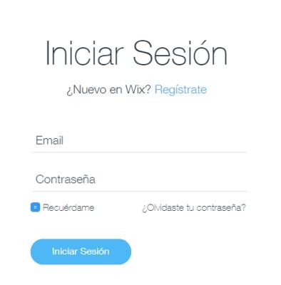 Como iniciar sesion en wix 1