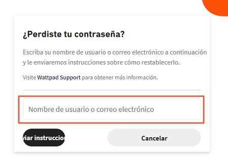 Cómo recuperar una cuenta de Wattpad paso 2