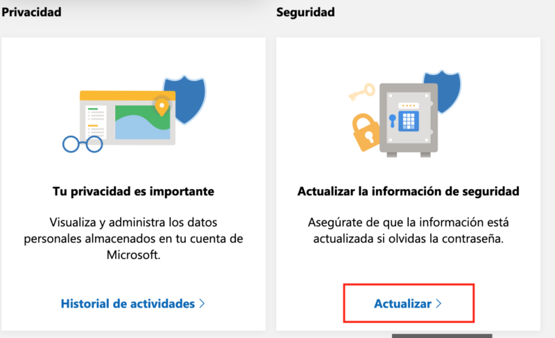 Actualizar correo alternativo Hotmail Paso 1