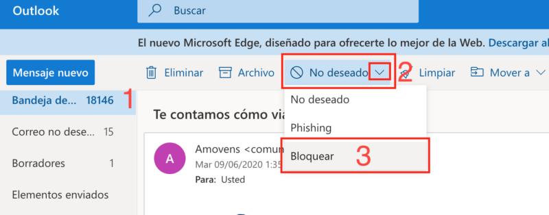 bloquear a una dirección de correo en Hotmail
