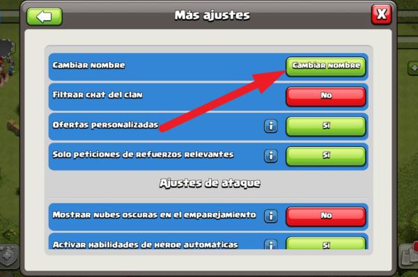 cambiar nombre de cuenta en clash of clans