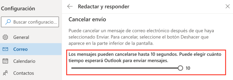 cancelar envio hotmail