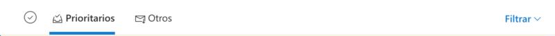 correos prioritarios y otros en Outlook