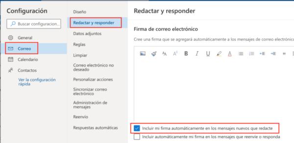 Crear firma Hotmail - Paso 2