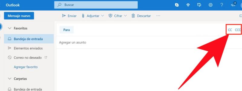 Cómo mandar correos con CC y CCO en Hotmail