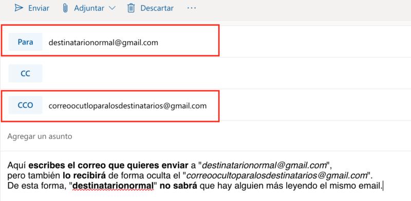 Mandar correos ocultos en Hotmail