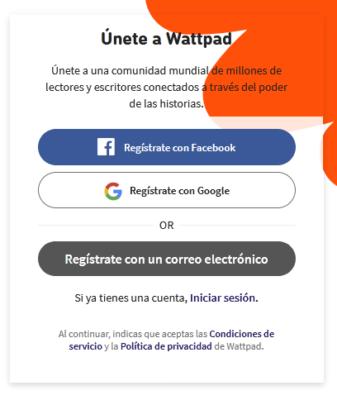 registrarse en wattpad