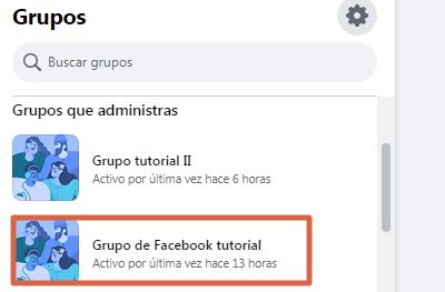 Archivar grupo nueva versión de Facebook paso 1