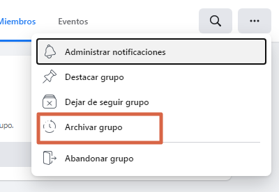 Archivar grupo nueva versión de Facebook paso 3