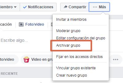 Archivar grupo versión clásica de Facebook paso 3