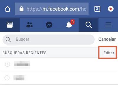 Borrar el historial de Facebook desde el móvil con el navegador paso 1