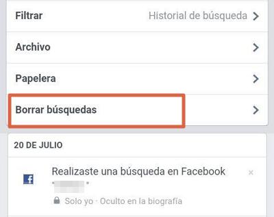 Borrar el historial de Facebook desde el móvil con el navegador paso 2