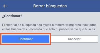 Borrar el historial de Facebook desde el móvil con el navegador paso 3