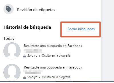 Borrar el historial de búsqueda de Facebook desde el ordenador versión nueva paso 6