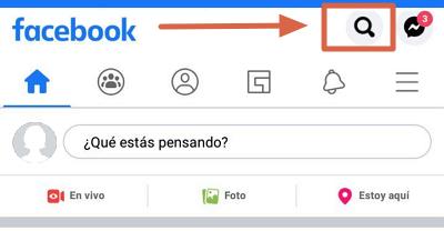 Borrar el historial de búsqueda en Facebook app paso 1