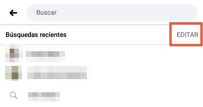 Borrar el historial de búsqueda en Facebook app paso 2