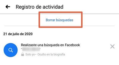 Borrar el historial de búsqueda en Facebook app paso 3