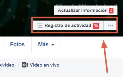 Borrar el historial de búsquedas desde el ordenador versón clásica de Facebook paso 1