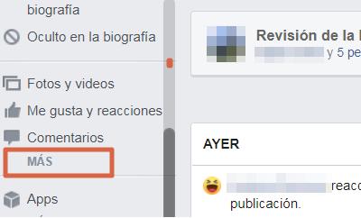 Borrar el historial de búsquedas desde el ordenador versón clásica de Facebook paso 2