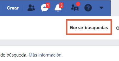 Borrar el historial de búsquedas desde el ordenador versón clásica de Facebook paso 4