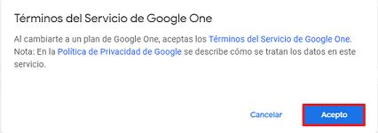 Cómo adquirir tu suscripción en Google Drive paso 3
