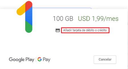 Cómo adquirir tu suscripción en Google Drive paso 4