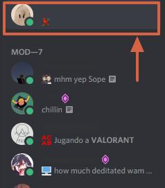 Cómo agregar amigos en Discord con el perfil de usuario paso 1