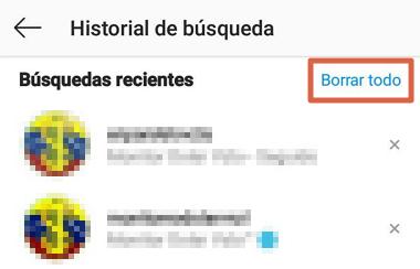 Cómo borrar el historial de búsqueda de Instagram desde el móvil paso 6