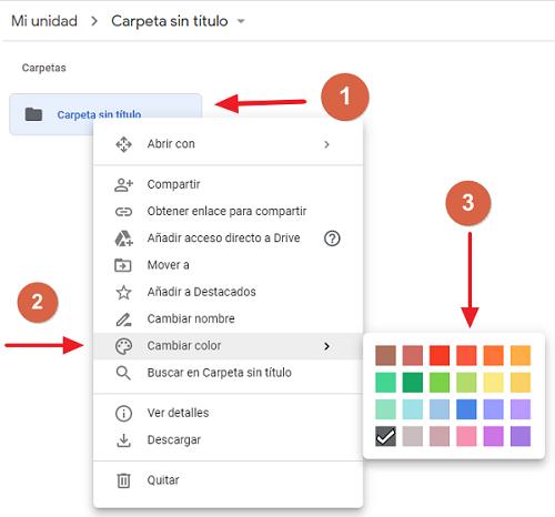 Cómo cambiar el color a una carpeta en Google Drive paso 1, 2 y 3