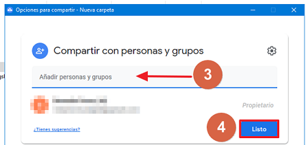 Cómo compartir carpeta en Google Drive desde el escritorio paso 3, 4