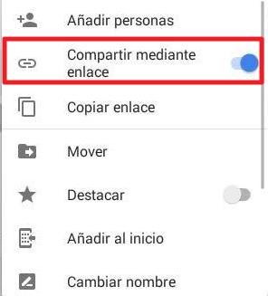 Cómo compartir carpeta en Google Drive desde el móvil mediante un enlace paso 2