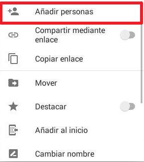 Cómo compartir carpeta en Google Drive desde el móvil mediante una invitacion paso 2
