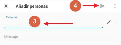 Cómo compartir carpeta en Google Drive desde el móvil mediante una invitacion paso 3, 4