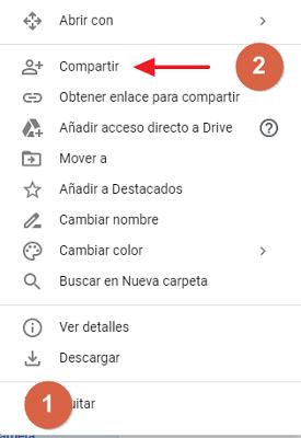 Cómo compartir carpeta en Google Drive desde el navegador compartir con un grupo paso 1, 2
