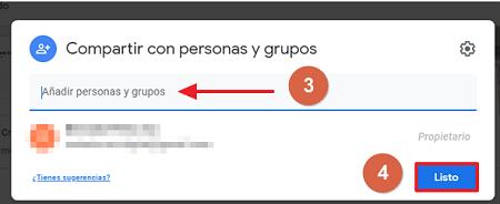 Cómo compartir carpeta en Google Drive desde el navegador compartir con un grupo paso 3, 4