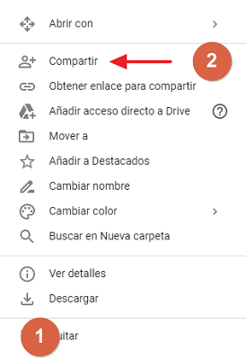 Cómo compartir carpeta en Google Drive desde el navegador mediante un correo paso 1, 2