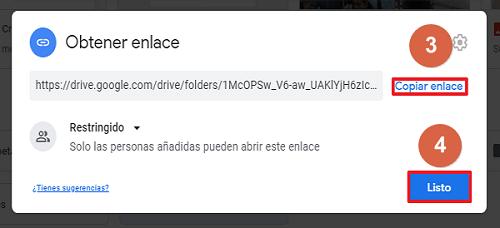 Cómo compartir carpeta en Google Drive desde el navegador mediante un enlace paso 3, 4