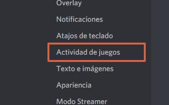Cómo desactivar la actividad de juegos en Discord paso 2