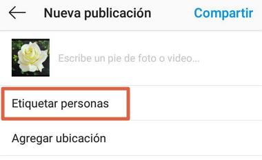 Cómo etiquetar a una cuenta en una nueva publicación de Instagram paso 4