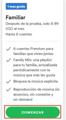 Cómo obtener Spotify Premium Familiar paso 3