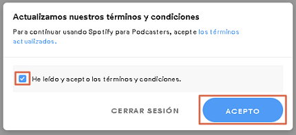 Cómo subir podcast a Spotify paso 2.