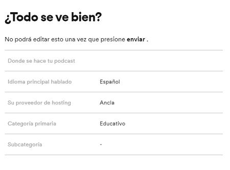 Cómo subir podcast a Spotify paso 7