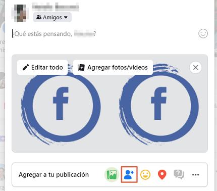 Cómo etiquetar personas o páginas en Facebook en el muro sin publicar paso 3.