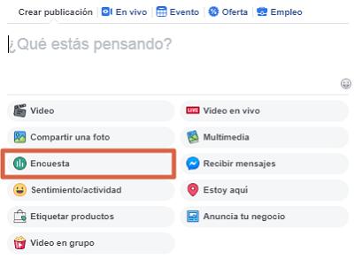 Crear una encuesta en página de Facebook paso 5