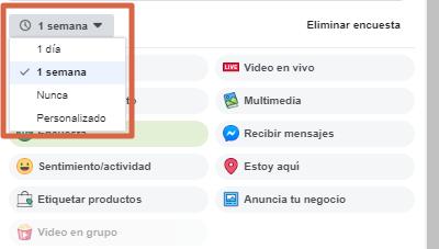 Crear una encuesta en página de Facebook paso 8