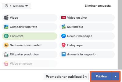 Crear una encuesta en página de Facebook paso 9