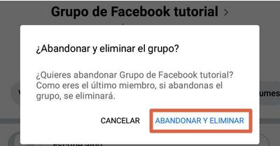 Eliminar grupo de Facebook desde el móvil paso 7